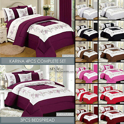 Embroidered Quilted Bedspread Throw or Duvet Cover Bedding Set with Bed Sheet