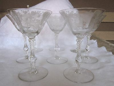 8 Vtg Cambridge Rose Point Pattern Etched Crystal Champagne Tall Sherbert Glass