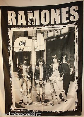 Ramones B/W CBGB Band on Street Cloth Fabric Poster Flag Tapestry Bob Gruen-New