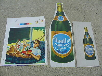 BOOTHS GINGER ALE SODA  PRINTERS PROTOTYPE SAMPLES SET OF 3