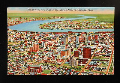 1950s Aerial View showing Bend in Mississippi River New Orleans LA Orleans Co PC