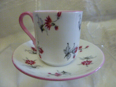 Miniature Shelley cup and saucer pink and grey floral decoration