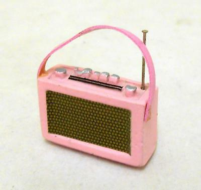 Dolls House Miniature 1:12 Scale Accessory 1960's Pink Transistor Radio