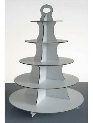 5 Tier Disposable White Cardboard Cup Cake Stands - Box of 2