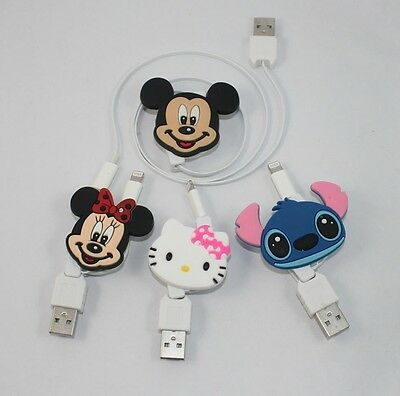 Kitty Mickey&Minnie Stitch Retractable Charging&Data Sync Cable for iPhone 5 5S