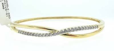14Kt Yellow Gold .55 Cttw Diamond Bangle Bracelet 7 Inch (12B 301-10092)
