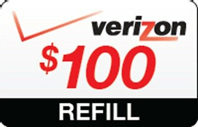 VERIZON WIRLESS $100 Refill. FASTEST REFILL Card Credit APPLY DIRECTLY to PHONE
