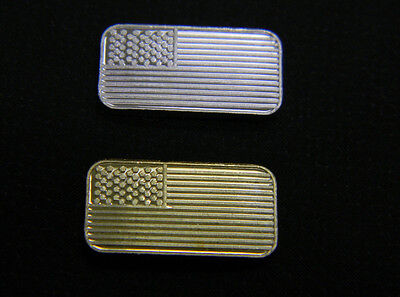 TWO  (2) 1 GRAM PURE 999 FINE SILVER AMERICAN FLAG BULLION BAR, 24K GOLD LAYERED