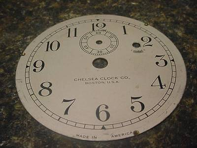 """Vintage Chelsea Clock Company 3-3/4"""" Replacement Silver Colored Dial F-S Ad E220"""