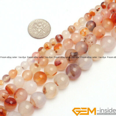 """Natural Light Red Carnelian Gemstone Round Loose Beads For Jewelry Making 15"""" YB"""