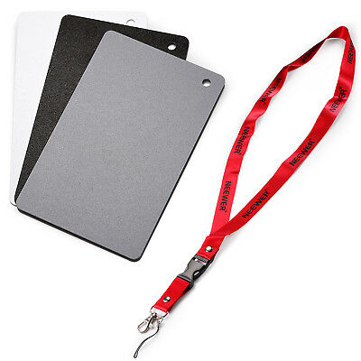 """2"""" x 3"""" 18% Gray Card for Digital and Film Photography w/ Premium Lanyard EM#01"""