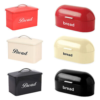 American Style Curved Steel Roll Top Bread Bin Kitchen Food Storage In 3 Colour