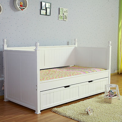 Kids European Design Siesta White NZ Pine Girls Princess Single Trundle Day Bed