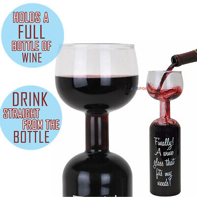The Wine Bottle Glass Holds 750ml Red White Wine Champange Birthday Novelty Gift