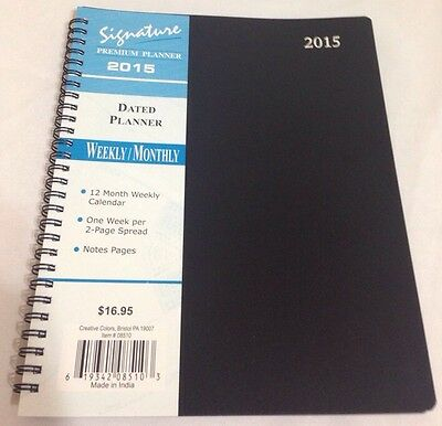 2015 Signature Series Dated Day Planner Calendar Weekly MONTHLY 8X10 BLACK