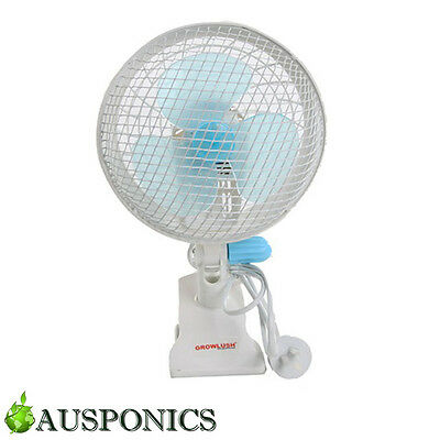 180MM OSCILLATING CLAMP FAN Hydroponics 2 Speed Clip Fan & 360 Degree Movement