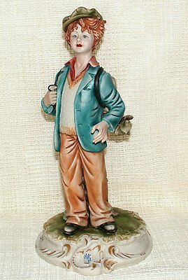 Capodimonte SIGNED FIGURINE by MENEGHETTI - BOY WITH SATCHEL Backpack