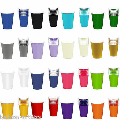 8 Paper 9oz Solid Colour Cups Wedding Birthday Tableware Party Supplies Colours