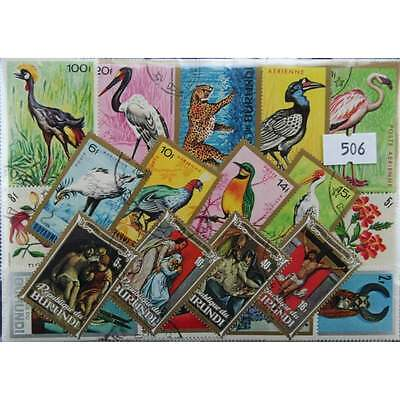 200 Burundi stamps in packet, large (506)