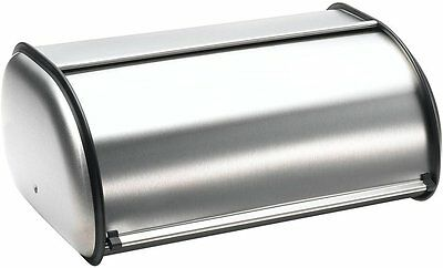 Brushed Stainless Steel Rolltop Large Size 2-Loaf Kitchen Bread Box Bin Storage