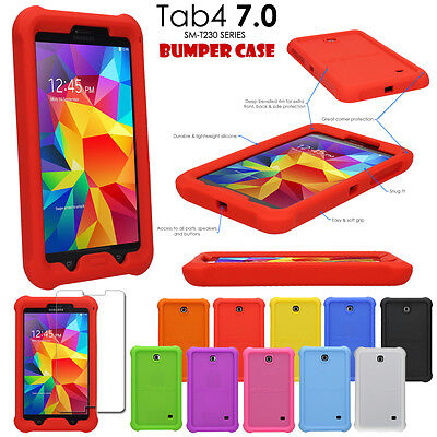 Shock Protective Tough Rugged Rubber BUMPER Case for Samsung Galaxy Tab 4 7.0