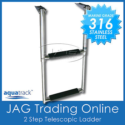316 Stainless Steel 2-Step Telescopic Boat Transom/boarding Ladder Marine Grade