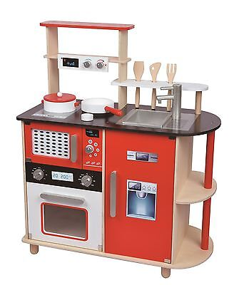 Lelin Wooden Childrens Pretend Play Modern Kitchen Cooking Toy with Pots & Pans