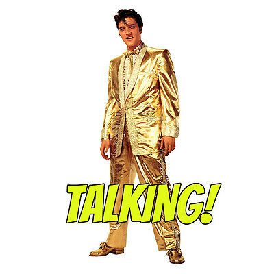 ELVIS PRESLEY TALKING Gold Lame Suit Lifesize CARDBOARD CUTOUT Standup Standee