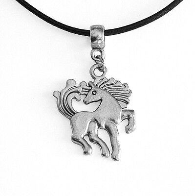 Unicorn Horse Charm Pendant Choker Necklace with Black Cord