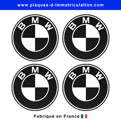 sticker BMW aspect carbone pour cache moyeu de jante (lot de 4)