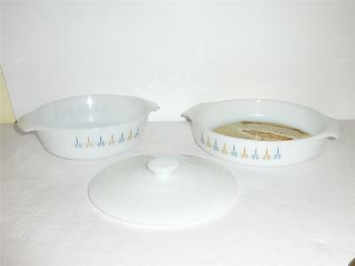 """Anchor Hocking""""Candle Glow"""" 1 qt Covered Casserole Dish NEW 9"""" Cake Pan w Papers"""