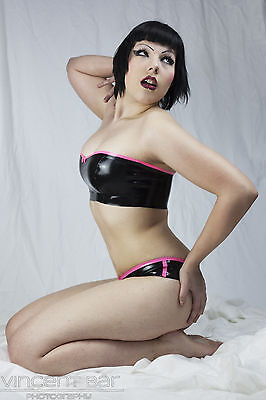 CL Design Latex Bandeautop Bandeau Top XS - XL Schwarz Neon Pink Rubber Gummi