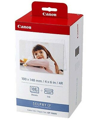 Canon KP-108IN Color Ink and 4x6 Paper Set 3115B001 for SELPHY CP770 CP780