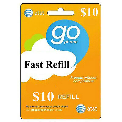 AT&T GoPhone $10 Refill. FASTEST REFILL card Credit applied DIRECTLY to PHONE