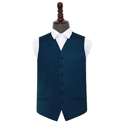 DQT Satin Plain Solid Navy Blue Formal Tuxedo Mens Wedding Waistcoat S-5XL