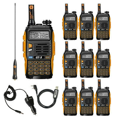 10x Baofeng GT-3 MKII 2m/70cm Band VHF UHF Ham Two-way Radio Transceiver + Cable