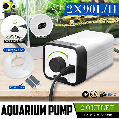 Aqua Aquarium Air Pump Oxygen Fountain Pond Aerator Water Fish Tank 2 Outlet