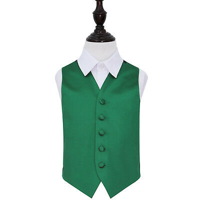 DQT Satin Plain Solid Emerald Green Page Boys Wedding Waistcoat 2-14 Years