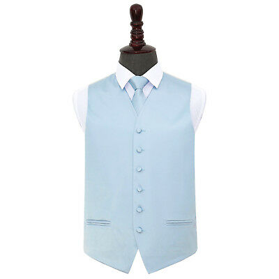 DQT Satin Plain Solid Baby Blue Mens Wedding Waistcoat & Tie Set S-5XL