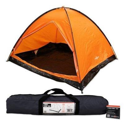 New Milestone Camping 4 Man Easy Pitch Family Outdoor Dome Tent - Orange