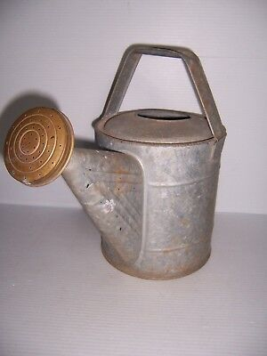 Antique Vintage Galvanized Watering Can With Brass Spout - Nice