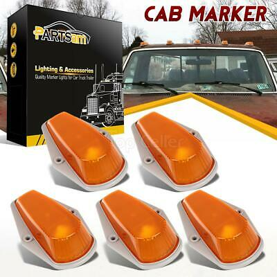 5 Cab Roof Light Marker Amber Covers w/ Base Housing For 80-97 Ford F Super Duty