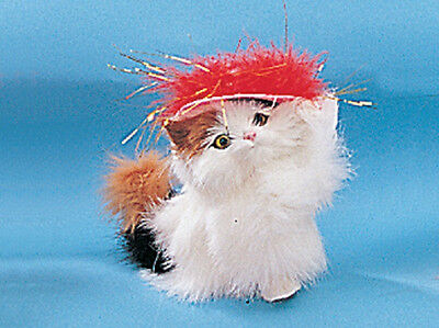 Calico Kitty Cat with RED HAT Furry Animal Collectible Birthday Gift