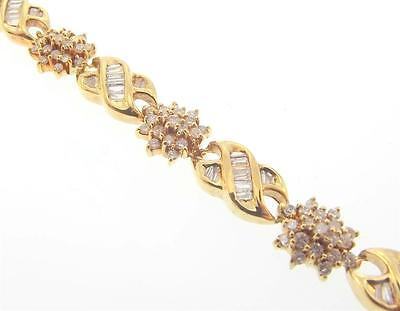 14Kt Yellow Gold 4 Cttw Flower Diamond Tennis Bracelet 7.5 Cert (2B 301-10083)