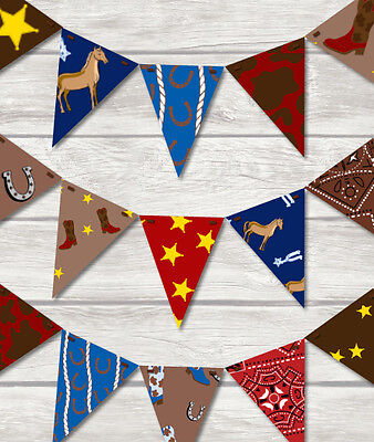 Cowboy Bunting - Children's Play Room / Bedroom / Home/ Birthday-18 Flags! Decor