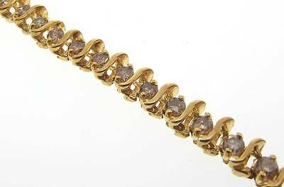14Kt Yellow Gold 4.0 Cttw S Link Diamond Tennis Bracelet 7.5 Cert (2B 301-10057)