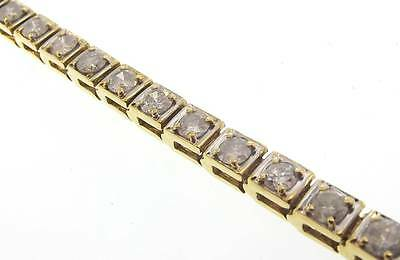 "14Kt Yellow Gold 5 Cttw Diamond Square Tennis Bracelet 7.25"" Cert (2B 301-10100)"