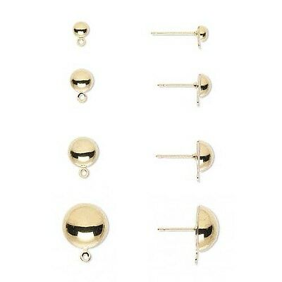 12 Gold Plated Half Ball Stud Earring Findings with Loop for Charms Small - Big
