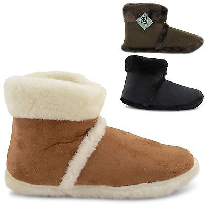 New Mens Dunlop Slippers Furry Lined Winter Snugg Pull On Ankle Boots Size 6-11