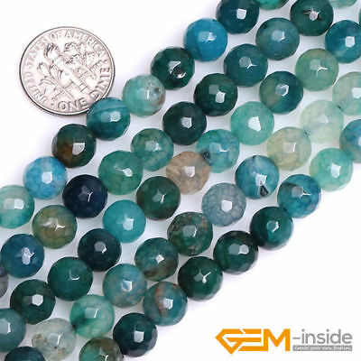 """8mm Green Crackle Agate Gemstone Faceted Round Beads For Jewelry Making 15"""""""